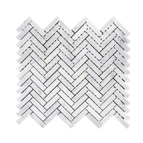 Jeffrey Court Steamboat White Herringbone 10-inch x 11-inch x 6 mm Marble Stone Mosaic Tile