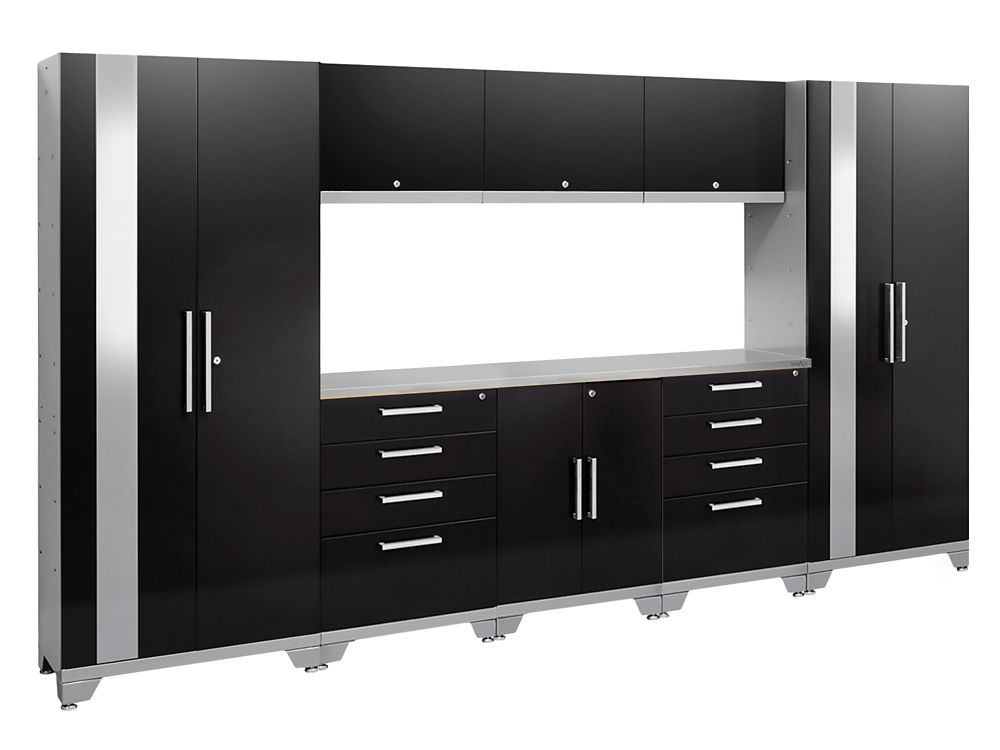 Performance 2.0 Storage Cabinets in Black (9-Piece Set)