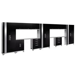 NewAge Products Inc. Performance 2.0 Black Garage Cabinet Set (14-Piece)