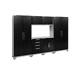 NewAge Products Inc. Performance 2.0 Diamond Plate Storage Cabinets in Black (7-Piece Set)