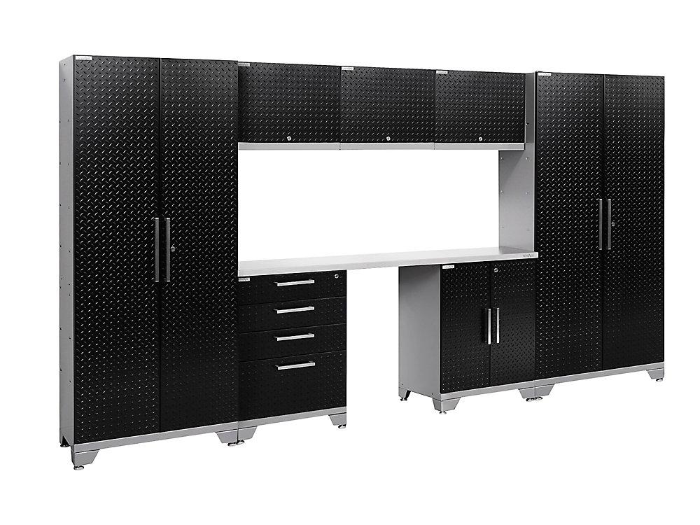 Performance 2.0 Diamond Plate Storage Cabinets in Black (8-Piece Set)