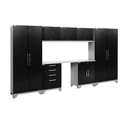NewAge Products Performance 2.0 Diamond Plate Storage Cabinets in Black (8-Piece Set)