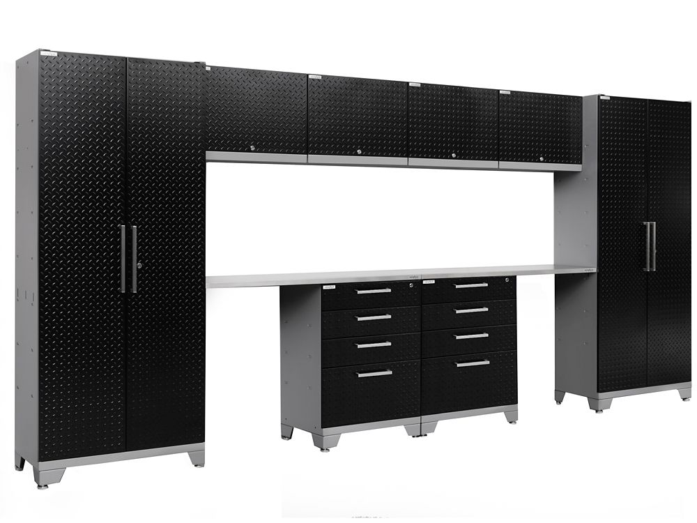 Performance 2.0 Diamond Plate Storage Cabinets in Black (10-Piece Set)