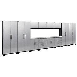 NewAge Products Inc. Performance 2.0 Diamond Plate Silver Garage Cabinet Set (14-Piece)