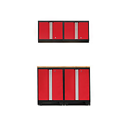 NewAge Products Inc. Bold 3.0 Red Garage Cabinet Set (5-Piece)