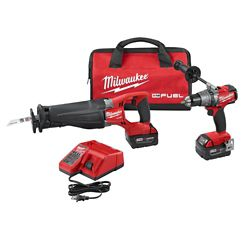 Milwaukee Tool M18 FUEL 18V Li-Ion Brushless Cordless Hammer Drill & Reciprocating Saw Kit W/ (2)5.0Ah Batteries