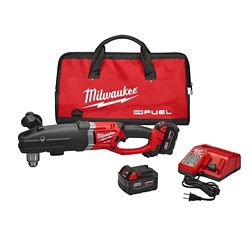 Milwaukee Tool M18 FUEL 18V Li-Ion SuperHawg 1/2-In. Brushless Cordless Right Angle Drill Kit W/ (2)5.0Ah Batteries