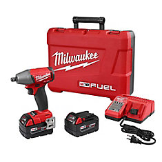 M18 FUEL 18-Volt Lithium-Ion Brushless Cordless 1/2-Inch Impact Wrench Kit w/ (2) 5.0Ah Batteries