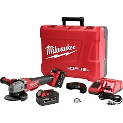 Milwaukee Tool M18 FUEL 18V Lithium-Ion Brushless Cordless 4-1/2 in./5in. Braking Grinder Kit w/ (2)5.0Ah Batteries