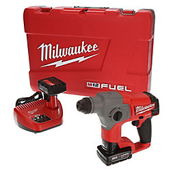 Milwaukee Tool M12 FUEL 12V Lithium-Ion 5/8-Inch Brushless Cordless SDS+ Rotary Hammer Kit W/ (2) 4.0Ah Batteries
