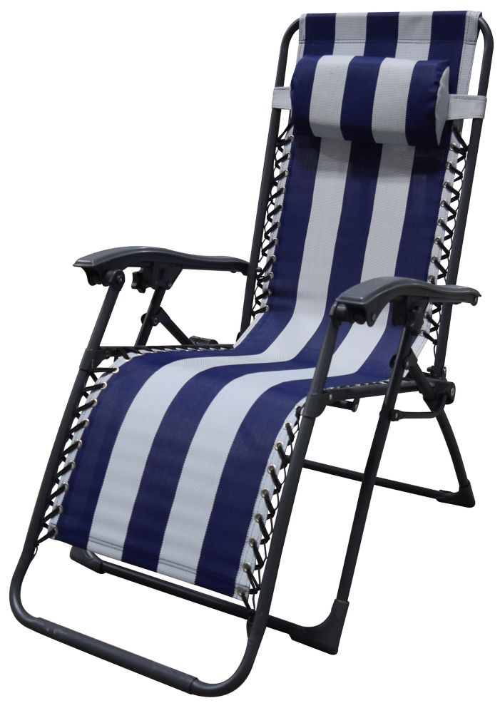 F.Corriveau International Multi-Position Chaise with stripe