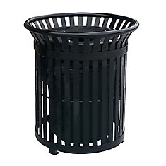 34 Gal. Black Steel Outdoor Trash Can with Steel Lid and Plastic Liner