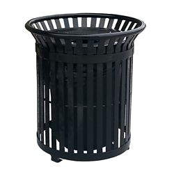 Paris 34 Gal. Black Steel Outdoor Trash Can with Steel Lid and Plastic Liner