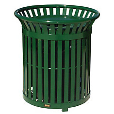 34 Gal. Green Steel Outdoor Trash Can with Steel Lid and Plastic Liner