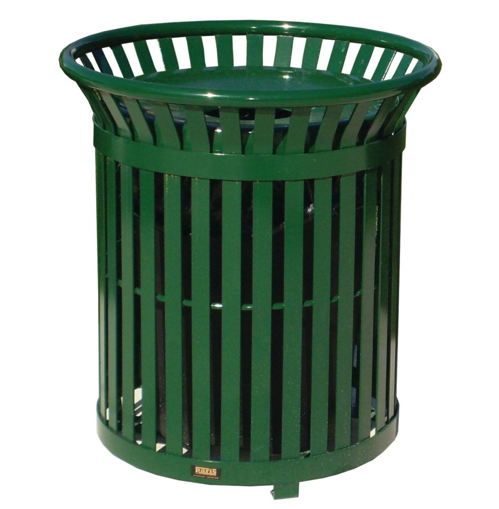 Paris 34 Gal. Green Steel Outdoor Trash Can with Steel Lid and Plastic Liner