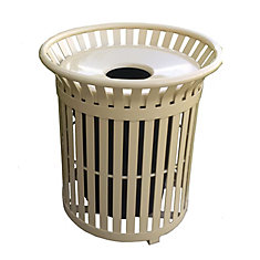 34 Gal. Tan Steel Outdoor Trash Can with Steel Lid and Plastic Liner