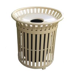 Paris 34 Gal. Tan Steel Outdoor Trash Can with Steel Lid and Plastic Liner