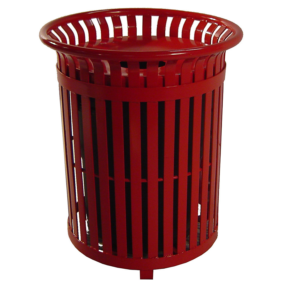 34 Gal. Red Steel Outdoor Trash Can with Steel Lid and Plastic Liner