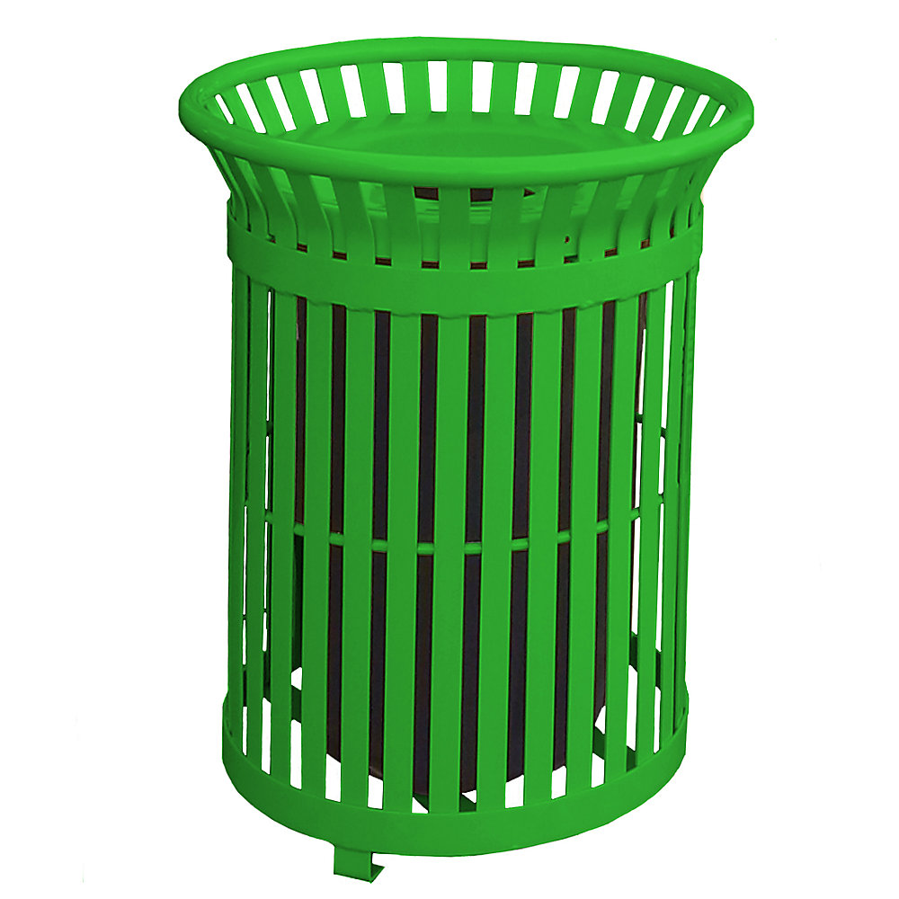 34 Gal. Light Green Steel Outdoor Trash Can with Steel Lid and Plastic Liner