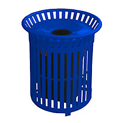 Paris 34 Gal. Blue Steel Outdoor Trash Can with Steel Lid and Plastic Liner