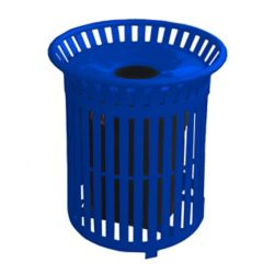 Paris Poubelle extérieure en acier de 34 gal. avec couvercle en acier et revêtement intérieur, bleu