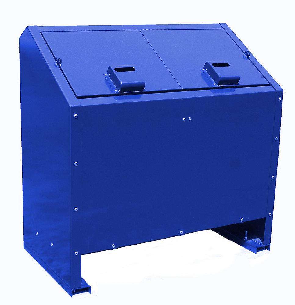 68 Gal. Metal Animal Proof Trash Can in Blue