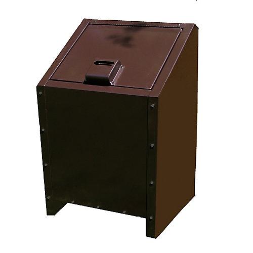 Contenant à déchets en métal résistant aux animaux de 34 gallons, brun