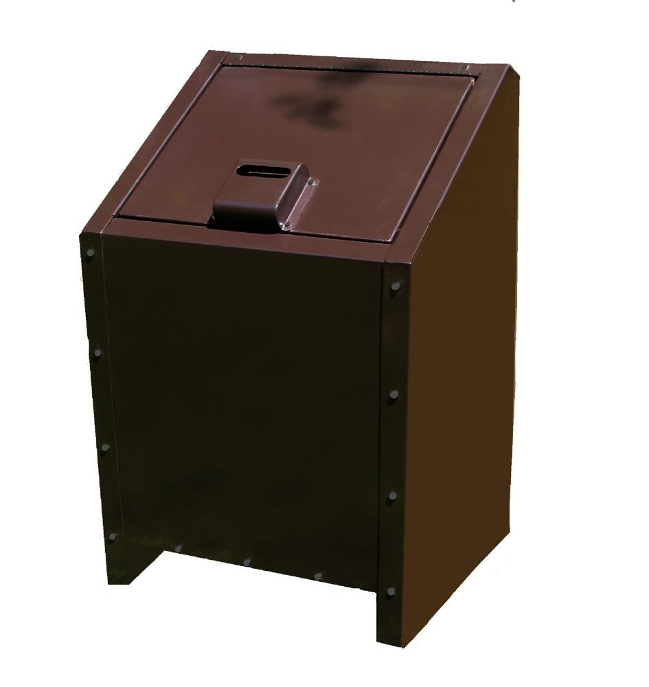 34 Gal. Metal Animal Proof Trash Can in Brown