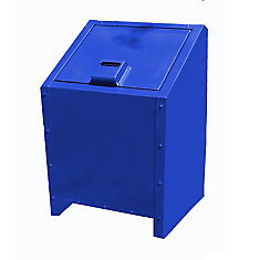 34 Gal. Metal Animal Proof Trash Can in Blue