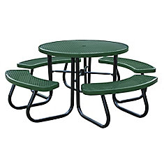 46 inch Green Picnic Table with Built-In Umbrella Support