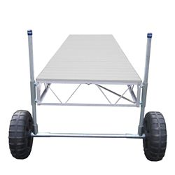 Patriot Docks 24 ft. Straight Roll-In Dock with Gray Aluminum Decking