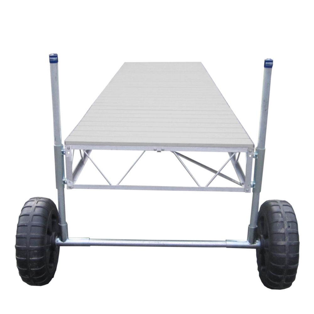Patriot Docks 40 ft. Straight Roll-In Dock with Gray Aluminum Decking