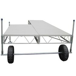 Patriot Docks 16 ft. Patio Roll-In Dock with Gray Aluminum Decking