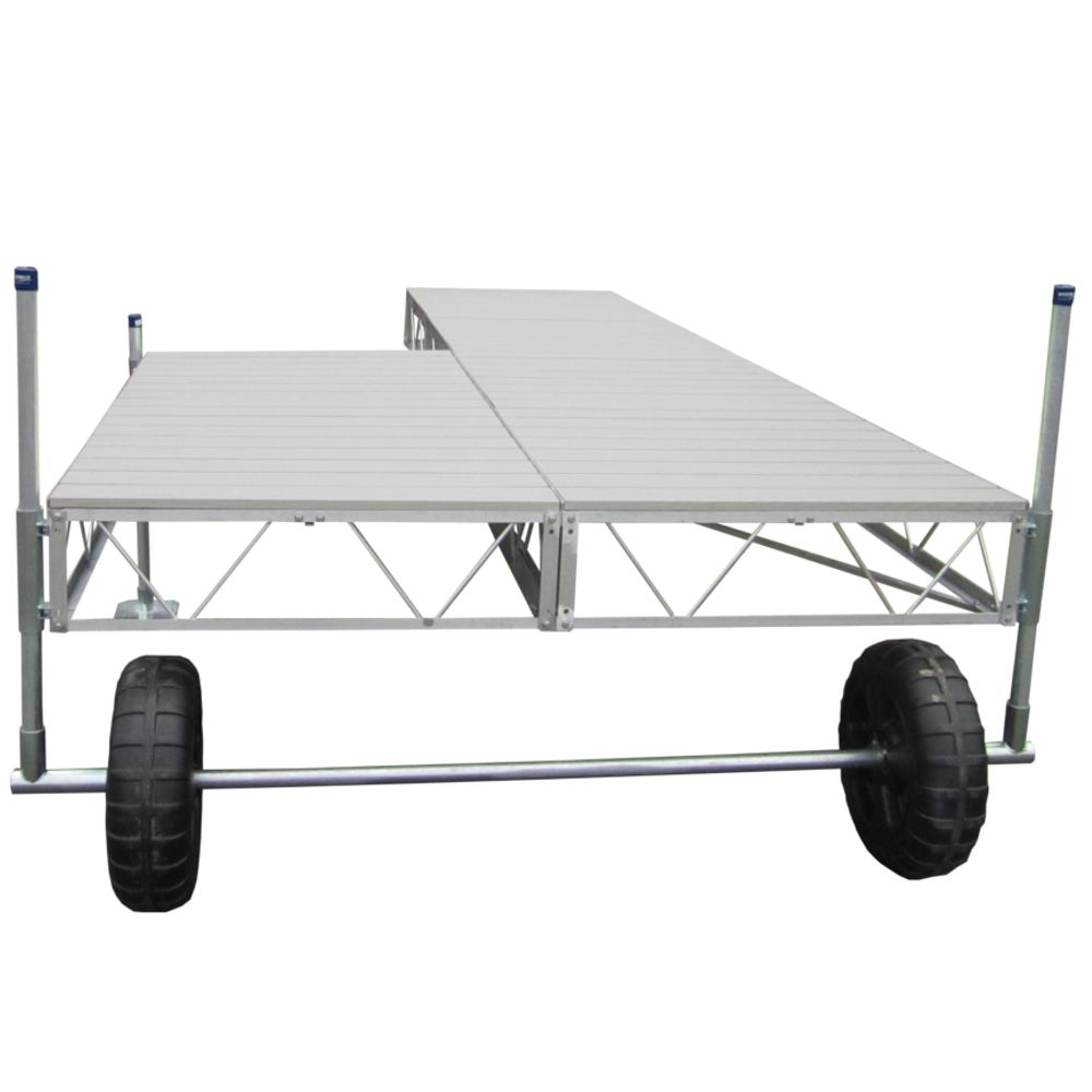 Patriot Docks 32 ft. Patio Roll-In Dock with Gray Aluminum Decking