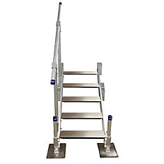 5-Step Aluminum Stairs with Handrail