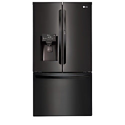 LG Electronics 36-inch W 28 cu. ft. 3-Door French Door Refrigerator in Matte Black Stainless Steel - ENERGY STAR®