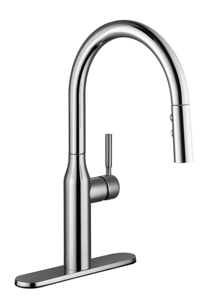 GLACIER BAY Upson Single Handle Pull-Down Kitchen Faucet in Chrome