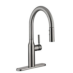 Upson Single Handle Pull-Down Kitchen Faucet in Stainless Steel