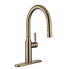 Upson Single Handle Pull-Down Kitchen Faucet in Gold