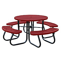 46 inch Red Picnic Table with Built-In Umbrella Support