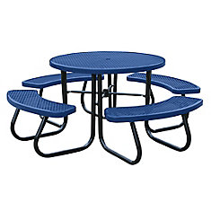 46 inch Blue Picnic Table with Built-In Umbrella Support