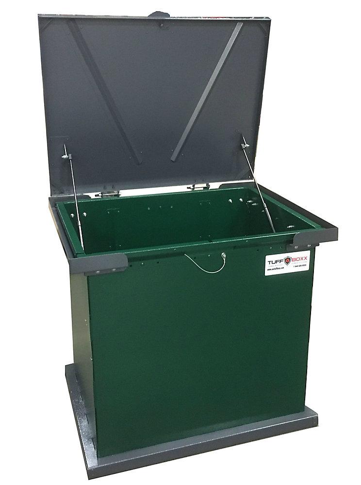 BRUIN 100 Gal. Green Galvanized Metal Animal Resistant Storage Container
