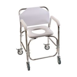 DMI Rolling Shower Transport Chair with Padded Toilet Seat