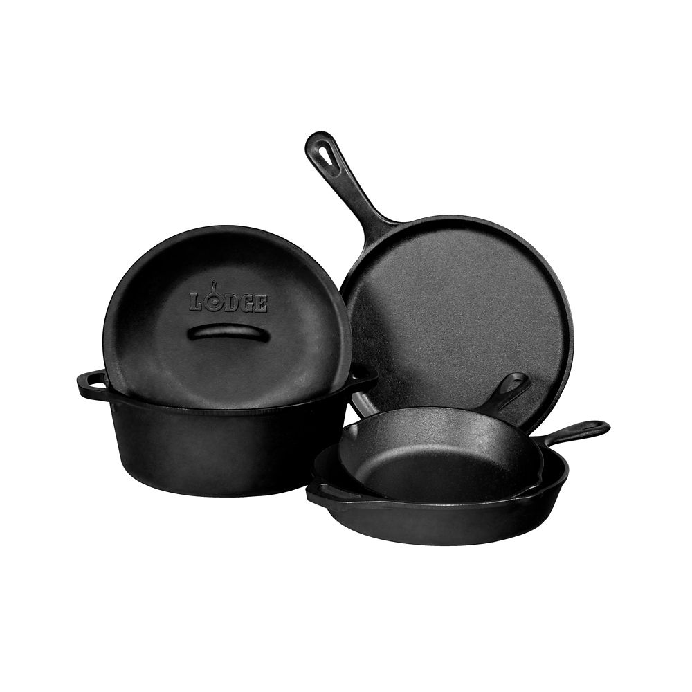 Lodge Cast Iron Cookware Set, 5-Piece