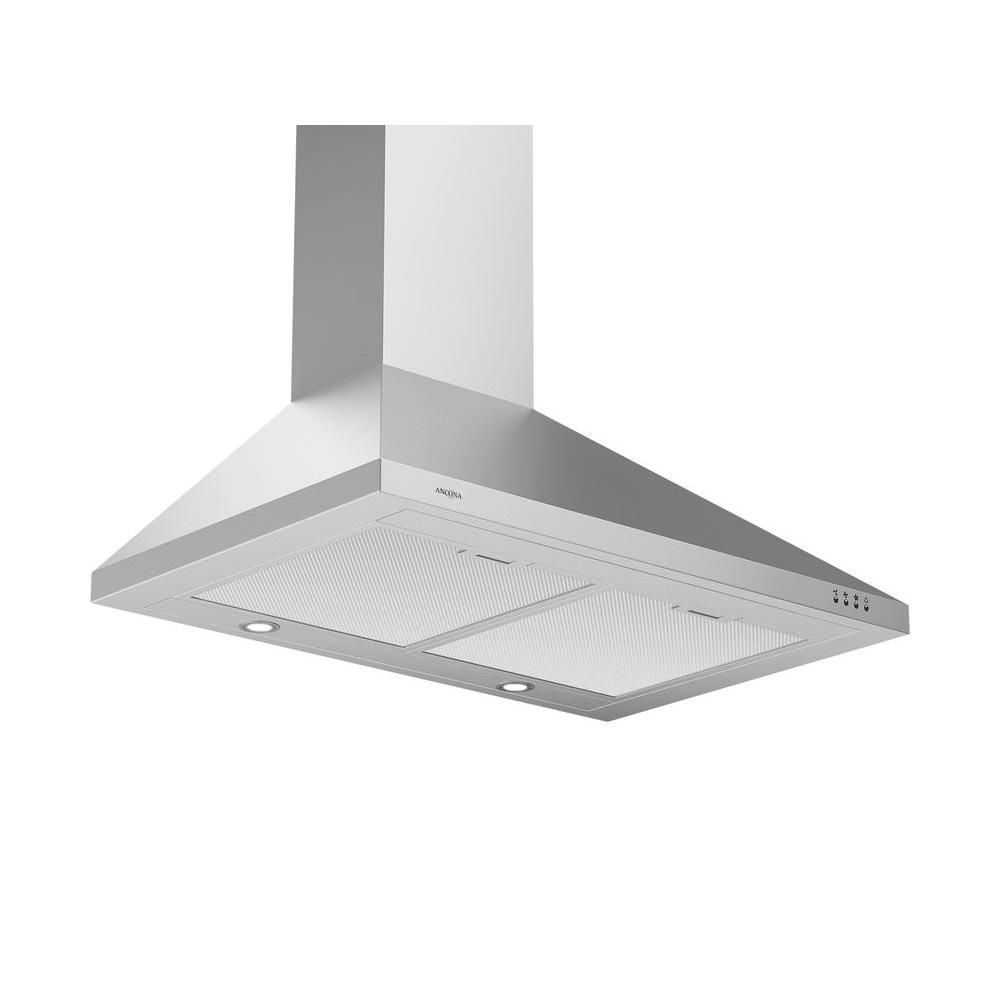 Ancona WPP430 30 inch Wall Mounted Range Hood Pyramid Style in Stainless Steel