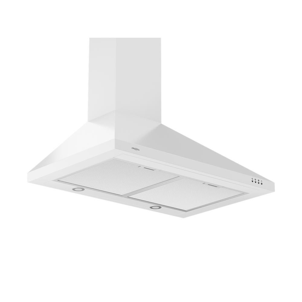 Ancona WPPW 430 30 inch Wall-Mounted Convertible Range Hood in White