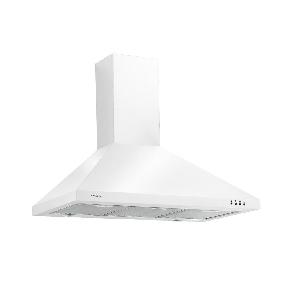 Ancona WPPW 436 inch Wall-mounted Convertible Range Hood in White