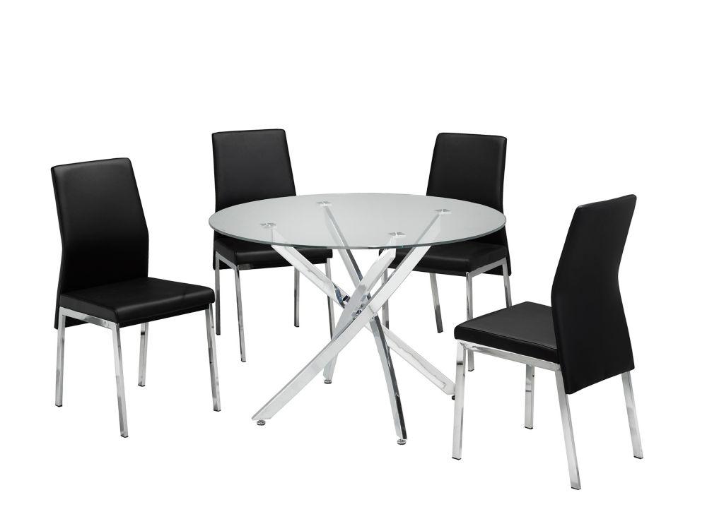 Brassex Inc. Alexis 5-Piece Kitchen Set 1 Table + 4 Chairs Black