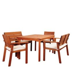Amazonia Nelson 5-Piece Rectangular Eucalyptus Patio Dining Set with Striped Beige and off-White Cushions