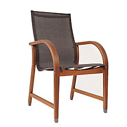 Amazonia Bahamas 4-Piece Eucalyptus Patio Armchair Set with Brown Sling Seat